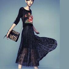 Free People pleated black lace full midi skirt, UK10