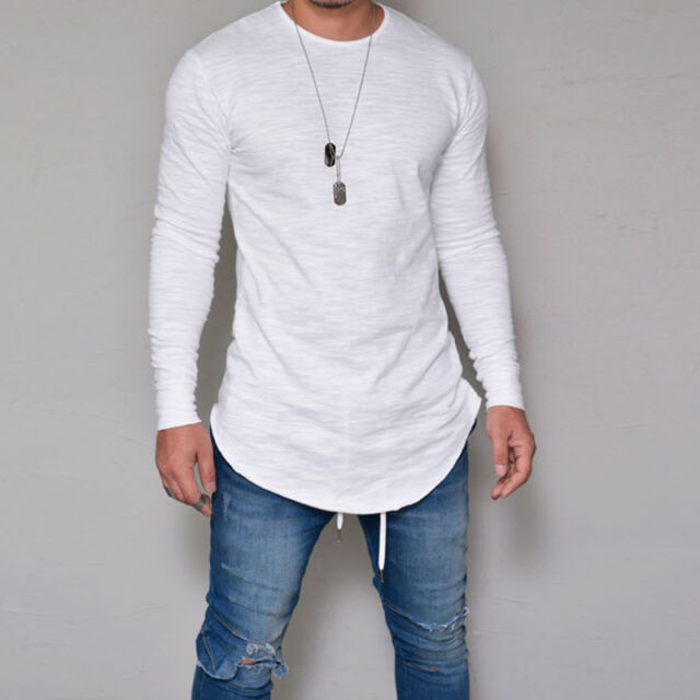Buy Fashion Men Slim Fit O Neck Long Sleeve Muscle Tee T-shirt Casual Tops  Blouse Thin Short White 2xl online  7bba53e8070