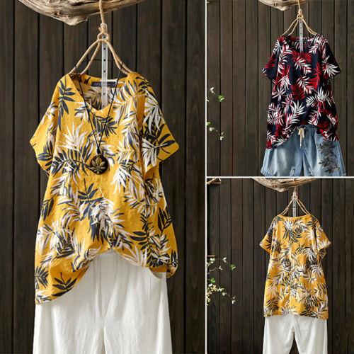 UK Women Short Sleeve Floral Printed Top Blouse Ladies Summer Casual Shirt Tunic