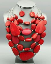 Red Coral Chunky Stone Beaded Multi Layered Necklace Statement Jewelry Strand