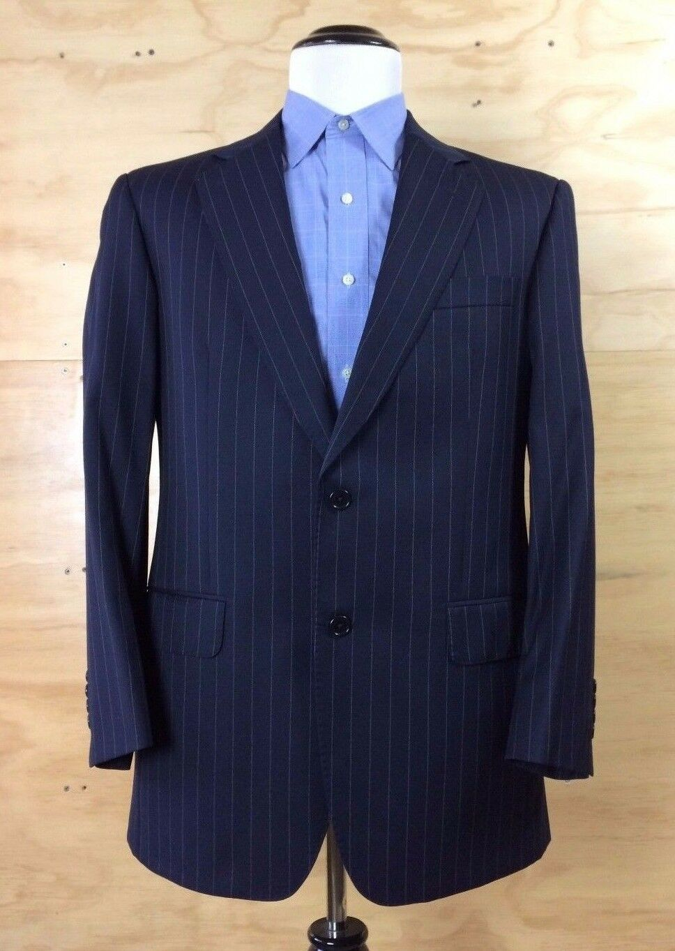 Brooks Bredhers Sz 41R Navy White Striped Made in  Wool Blazer Sports Coat