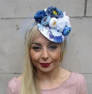 White Royal Light Blue Rose Birdcage Veil Flower Fascinator Pillbox ... 29702b9d142