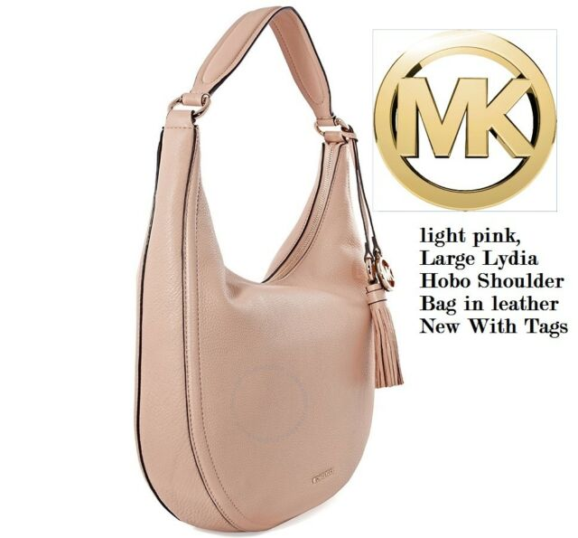 8701096d9853 Michael Kors Lydia Large Pebbled Leather Tassel Hobo Shoulder Bag ...