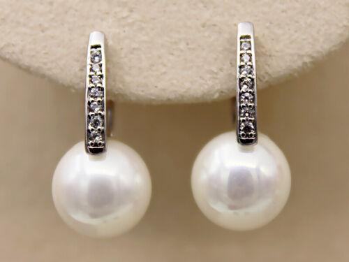 18K or blanc Rempli Zircon Perle Gemme Topaze Pageant Femmes Boucles D/'oreilles BR