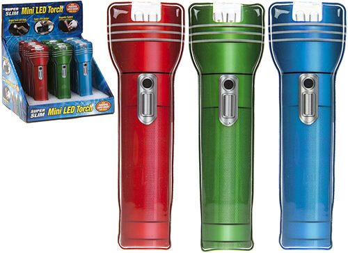 FLASHLIGHT LED ULTRA FLAT SUPER BRIGHT free postage compact lamp torch blue red