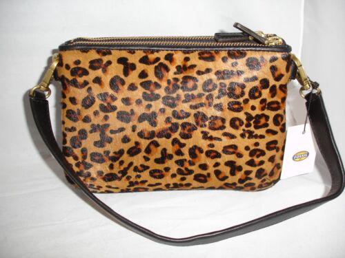 "FOSSIL /""Memoir/"" Top Zip Cheetah Hair Calf Pocketbook Purse Animal Print $148"
