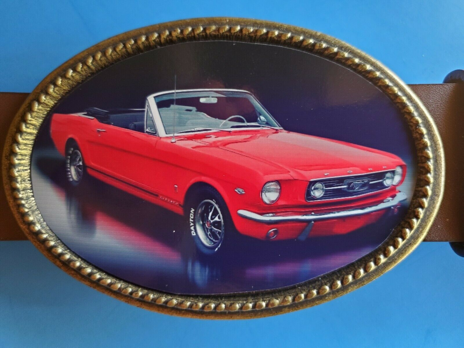 <<<Vintage FORD MUSTANG >>> Epoxy Photo Buckle