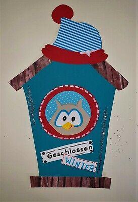 Fensterbild Tonkarton Winter Weihnachten Susse Eule Vogelhaus Ebay