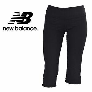 New Balance Women's Black Leg Slit Capri Yoga Leggings With Slight ...