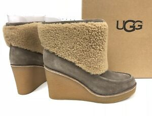 538bab39a36 Details about Ugg Australia Coldin Wedge Ankle Bootie 1018648 Exposed  Shearling Boot Mouse