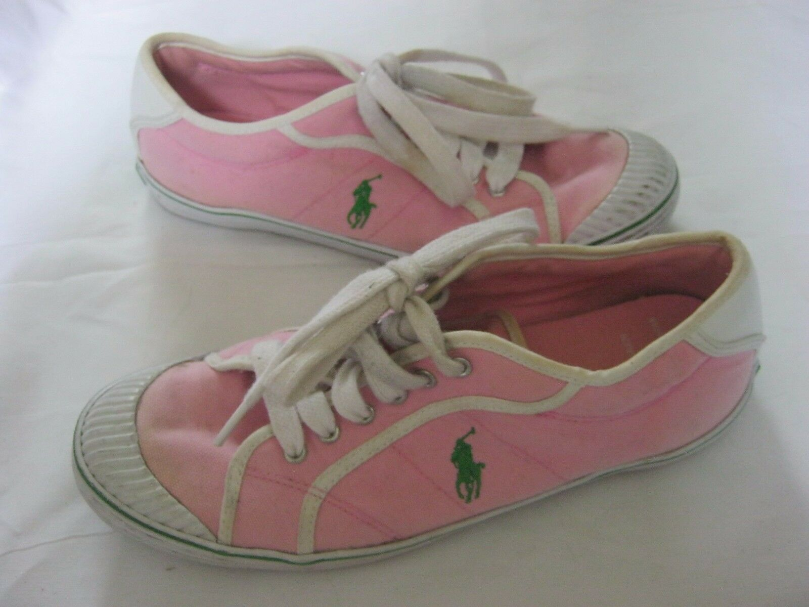 Polo Ralph Lauren Canvas Sneakers Athletic shoes Womens sz 8.5B Pink Green Pony