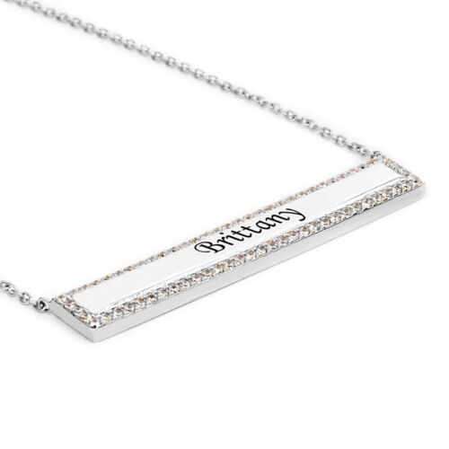 Personalized Sterling Silver Engraved Any Name Bar Necklace w// Cubic Zirconia