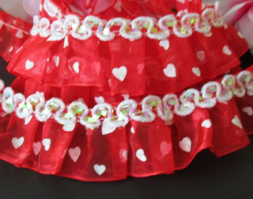 Amazing red// white ruffled lace with Sequin 1 inch wide price for 1 yard