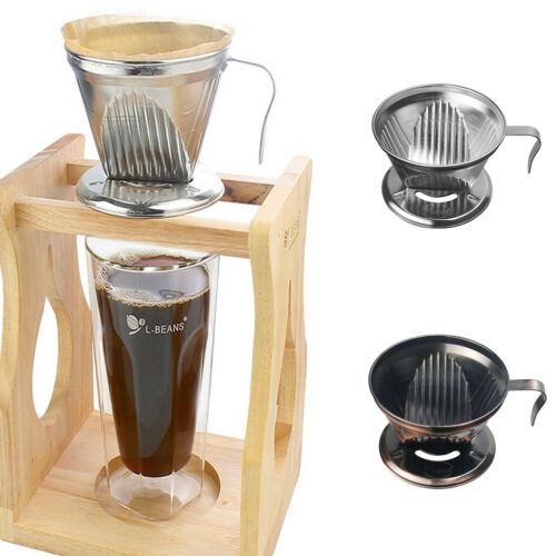 Stainless Steel Pour Over Cone Dripper Reusable Coffee Filter Handle Choice
