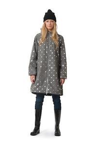 Details about Danefae Helen Midseason Regen Mantel Rainjacket greysilver dots ~36