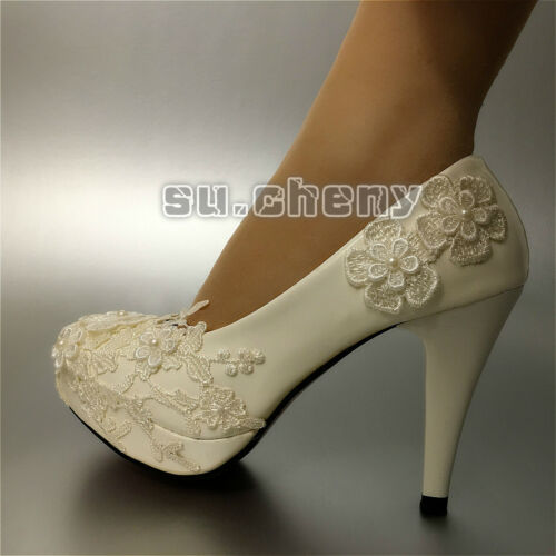 "su.cheny flat 2"" 3"" 4"" White flat lace heel pearl Wedding Bridal shoes size 6-10"