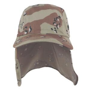 6e80baf3f Details about Foreign Legion BDU Cadet Long Neck Flap Hat Military Flat Top  DESERT CAMO Cap