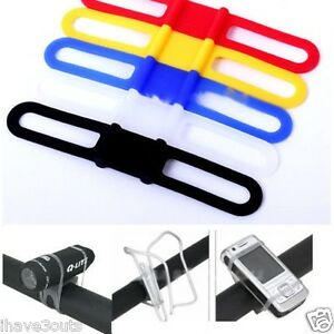 Easy-Tie-On-Silicone-Band-For-Bike-Lights-amp-Accessories-Mobile-Drink-Cage-Holder