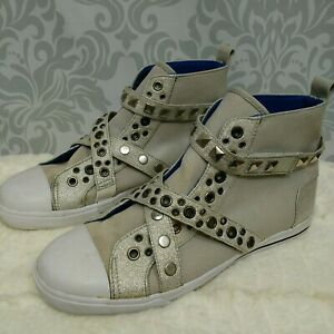 Steve-Madden-Fix-Silver-Studded-Gray-High-Top-Sneakers-Womens-Size-9