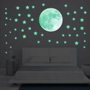 Brillan En La Oscuridad Estrellas De Pared O Techo Con Calcomanías De Luna Pegatinas Luminoso Ebay