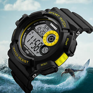 SKMEI-Men-039-s-LED-Digital-Alarm-Date-Military-Sports-Army-Waterproof-Quartz-Watch