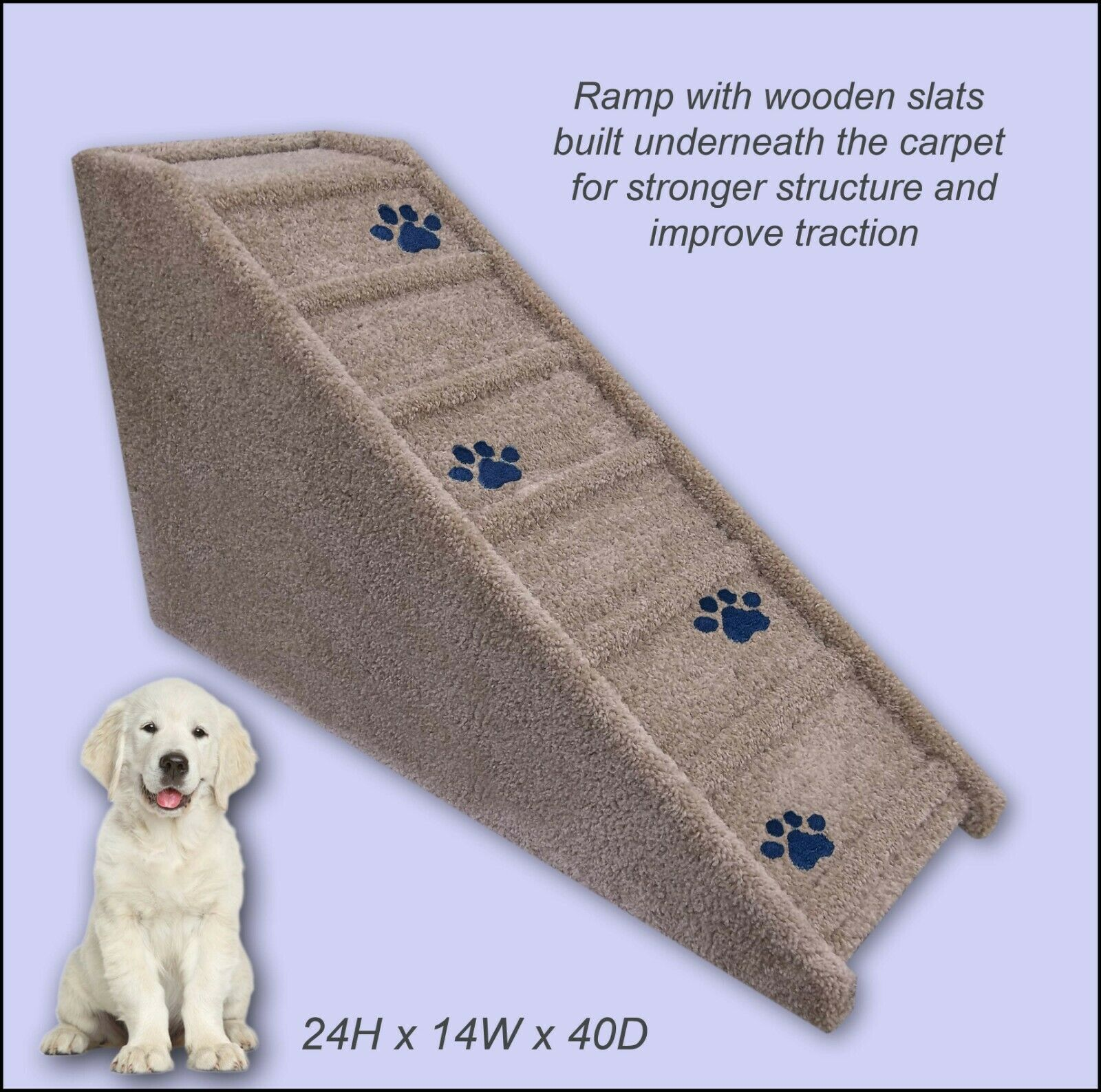Dog Ramp, 24  tall x 14  wide x 40  Deep Dog Ramp. Veterinarian recommended