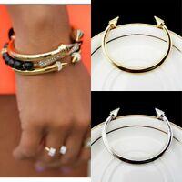 Sale Women Lady Girl Punk Alloy Rivet Arrow Open Cuff Bangle Charm Bracelet
