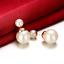 Elegante Doble Perla simulado pendientes perforados-Nuevo en Caja De Regalo