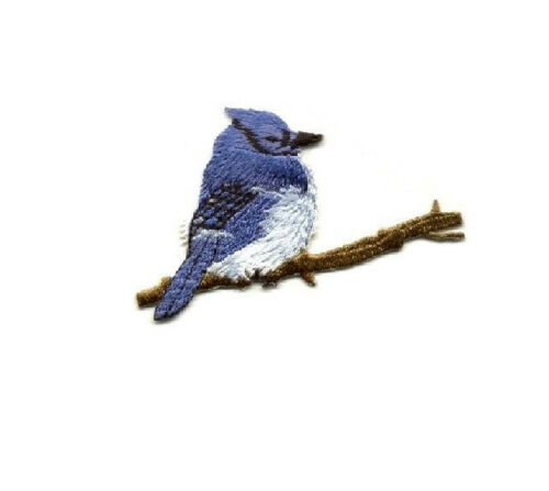 Bird Embroidered Iron On Applique Patch Blue Jay Bird Watching