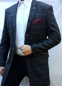 61d0b36a2 Details about Men's Marc Darcy Designer Distinct Check Tweed Top Coat  Jacket Size 36-52