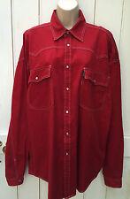 Vintage 90s Very Oversized Red Heavy Cotton Western Shirt Trucker XL