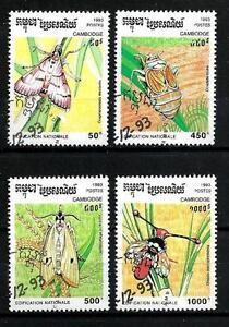 Insectos-Camboya-3-serie-completo-de-4-sellos-matasellados