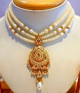 Indian Traditional 22k Gold Necklace Pendant With Pearl Jewelry Ebay
