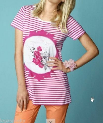 Longshirt kurzarm von Mia Linea designed by Maite Kelly weiß//rosa Print Gr.44//46