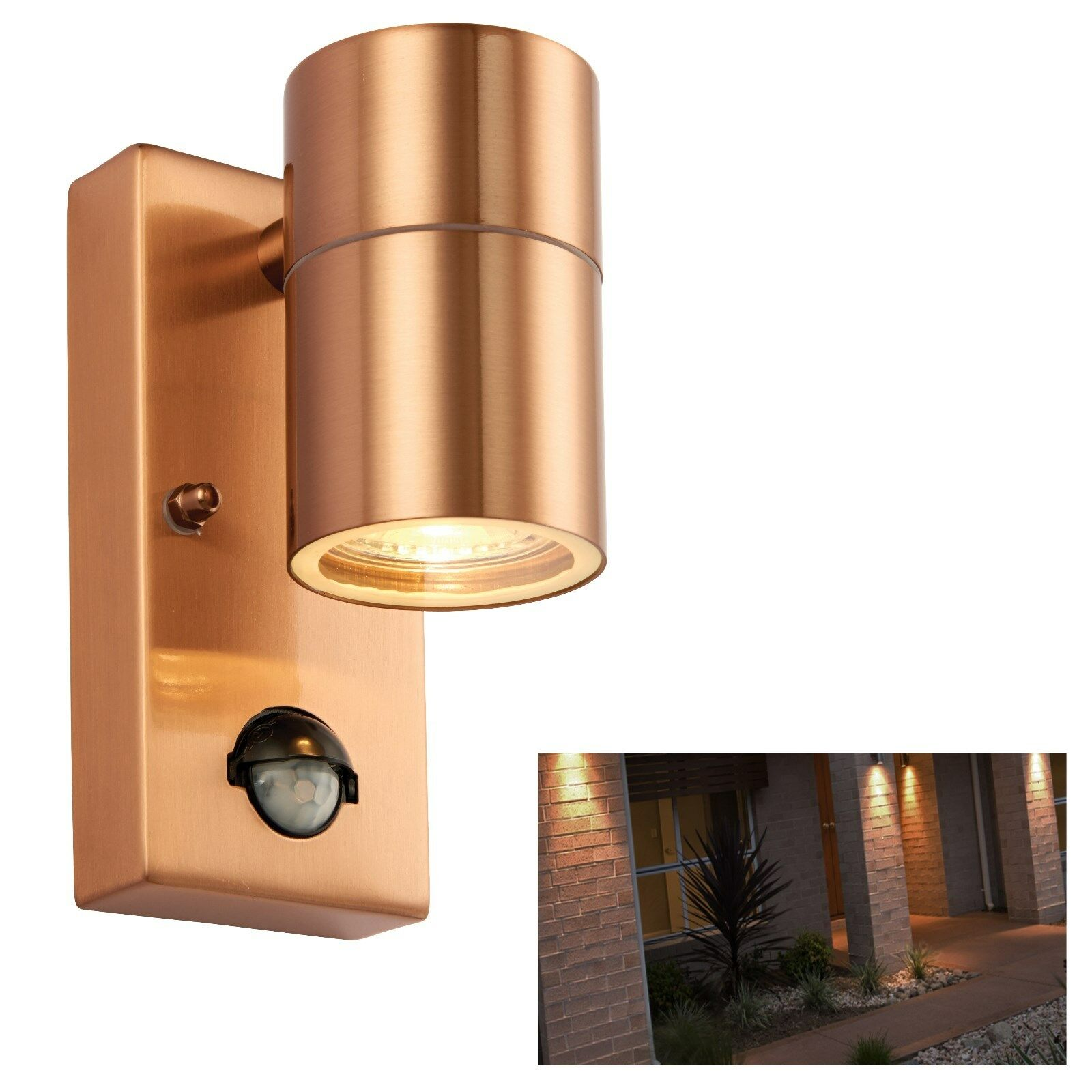IP44 Stylish Copper Outside Exterior Up  Down Wall Light x2 LED Bulb Lantern