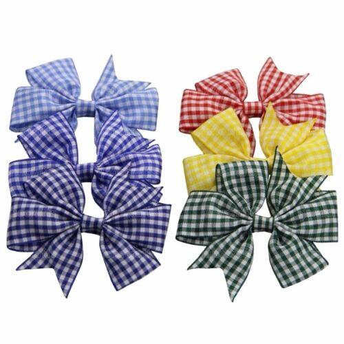 New Style Gingham Pinwheel Bow Alligator Hair Clips School Pins Girls