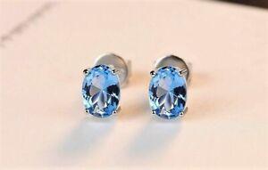 Damen-Ohrringe-Ohrstecker-925-Sterling-Silber-Blau-Topas-1-8-ct-VVS-Rhodiniert