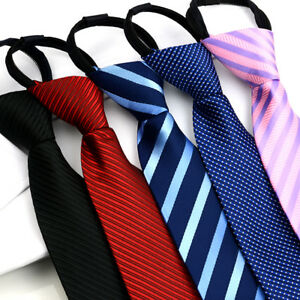 Men-Fashion-Zipper-Tie-Stripe-Polka-Dots-Wedding-Party-Formal-Business-Necktie