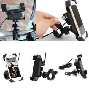 360-Rotation-Motorcycle-Bike-Cell-Phone-GPS-Mount-Telescopic-Holder-USB-Charger