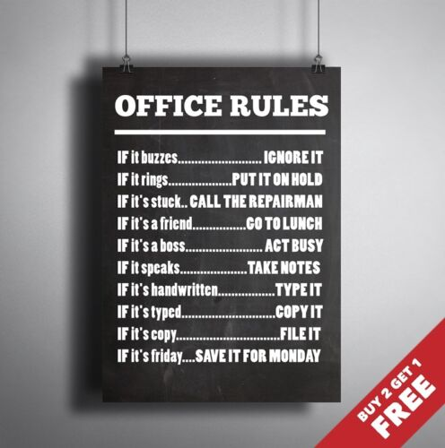 A3 SIZE POSTER Fun Quote Colleagues Gift Idea Wall Art OFFICE RULES SIGN A4