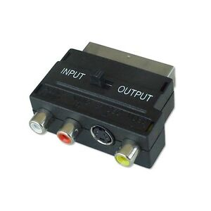 Scart to svhs to 3 x rca converter tv adaptor in & out switch NICKLE