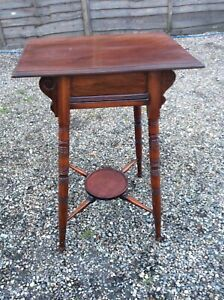 ANTIQUE-VICTORIAN-BOBBIN-LEGGED-SIDE-TABLE-MAHOGANY-WITH-PLANTSTAND
