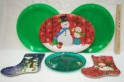 Christmas Platters And Trays.Christmas Platters Trays Plastic Green Snowman Stocking Lot