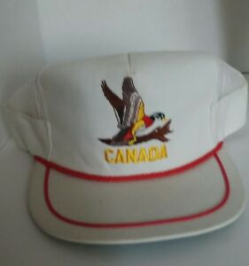 e212800445a89 Image is loading Vintage-Snapback-Trucker-Hat-Canadian-Goose-embroidered- Canada-