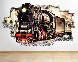 Détails Art Transport Applique Titre Stickers R280 Living Sur Train Vapeur Chambre 3d Afficher À Vinyl Le D'origine Murale Smashed UMzVpSq