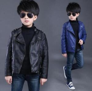 fe5f01ca Details about Kids Boys Leather Turn-down Collar Jackets Casual Coats Cool  Clothes Outwear Z01