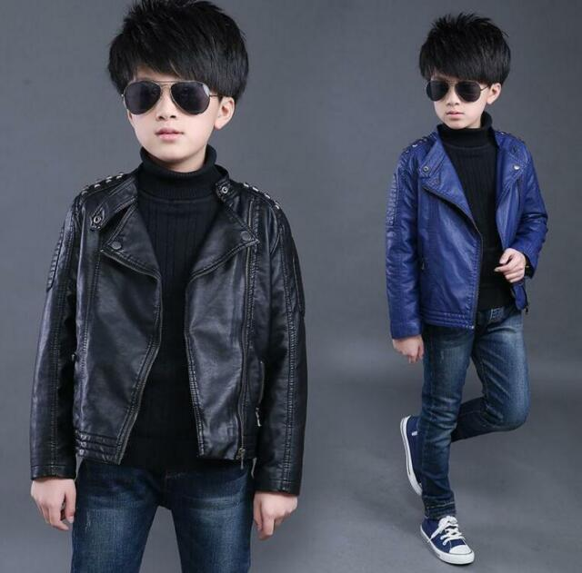 Kids Boys Leather Turn-down Collar Jackets Casual Coats Cool Clothes Outwear Z01