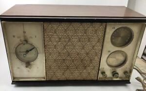 Vintage-General-Electric-AM-FM-Clock-Tube-Radio-Model-1960s-RARE-Marbleized