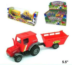 Metal Toy Tractors >> Details About 4 Asst Diecast Metal Toy Farm Tractors With Trailers Friction Powered Play New