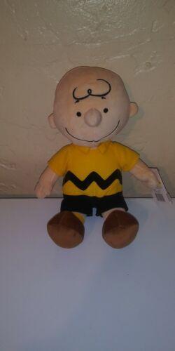 "Peanuts Charlie Brown Plush Stuffed Animal Toy Kohl's Cares 13"" yellow black"